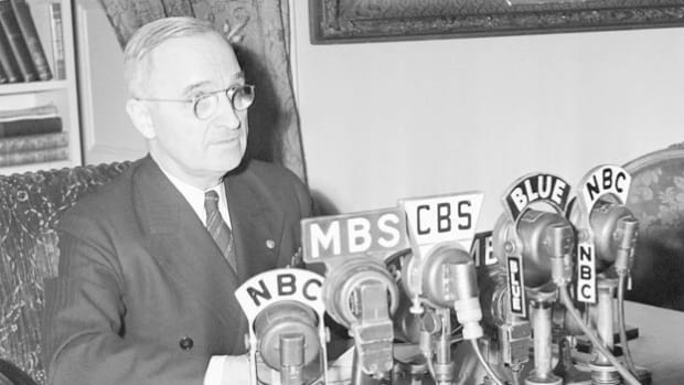 On April 12, 1945, President Franklin D. Roosevelt died of a massive cerebral hemorrhage. Five days after being sworn in as president of the United States, Harry Truman delivers a speech to the U.S. Armed Forces expressing his gratitude for their service and his intention to see through FDR's strategies.