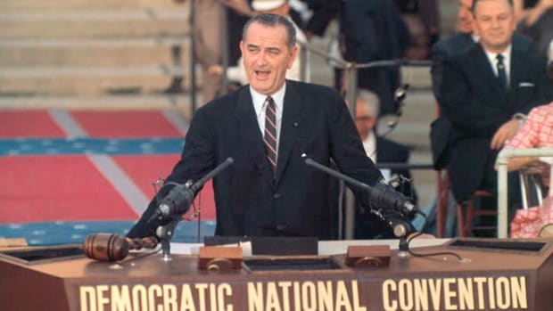 After weeks of campaigning, Sen. Lyndon Johnson of Texas officially announces his candidacy for the Democratic presidential nomination at a press conference on July 5, 1960. But by July 14, after a poor first-ballot showing against Sen. John F. Kennedy, Johnson accepted a second-place role, becoming his former rival's running mate.