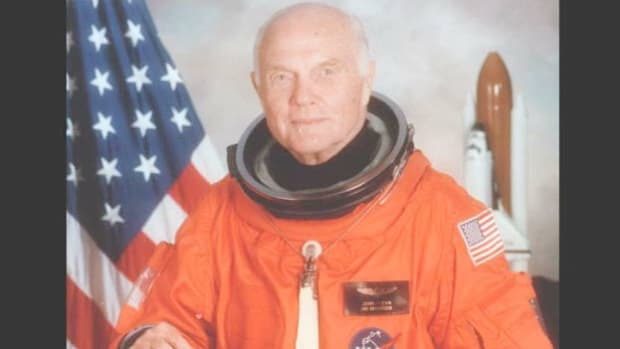 On October 29, 1998, the NASA Mission Control countdown of the launch of space shuttle Discovery remarks on the historic return to space by crew member John Glenn. Four decades earlier, Glenn had been the first American to orbit Earth.