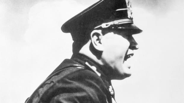 On June 10, 1940, in a rousing speech to his country, Italian dictator Benito Mussolini declares war on France and England.