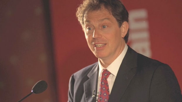 "In a campaign speech for the 1997 General Election, the Labour Party's Tony Blair promises his country a ""new vision."" On May 1, British voters gave the Labour Party a landslide victory."