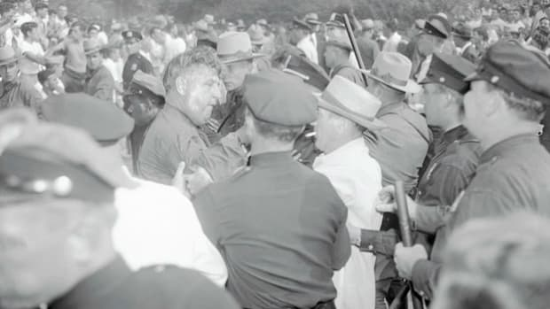 On August 27, 1949, a concert by Paul Robeson and other left-wing singers in Peekskill, New York, was called off after an outbreak of violence in protest of Robeson's communist leanings. When the concert was rescheduled for September 4, CBS News was on hand to record another eruption of violence at the concert grounds.