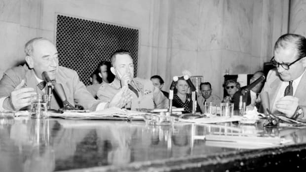 "On June 9, 1954, two-thirds of the way into the 36-day televised Army-McCarthy hearings in which Sen. Joseph McCarthy argued that the U.S. Army was harboring communists, the investigation hits a turning point. When Joseph Welch, the Army's special counsel, accuses McCarthy of having ""no sense of decency,"" the tide of public opinion turns and McCarthy's career is eventually ruined."