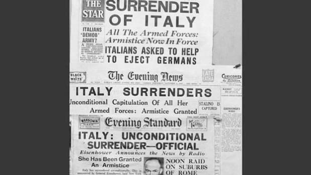 "A September 8, 1943, war report from Allied Force Headquarters outlines Italy's unconditional surrender, known as a ""volte-face,"" announced earlier that day by Gen. Dwight Eisenhower. The surrender came after several weeks of negotiations between the Italian government and the Allies in the wake of Mussolini's removal from power."