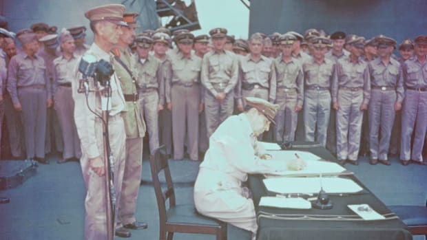 On September 2, 1945, aboard the U.S.S. Missouri in Tokyo Bay, World War II comes to a close when Japanese officials sign the unconditional surrender. Gen. Douglas MacArthur presides over the signing and delivers a short speech on the momentous occasion.