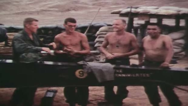 Two Vietnam veterans, Pete Henry and Jim Harris, reunite to watch the films of their experimental mission to airlift medium artillery into battle.