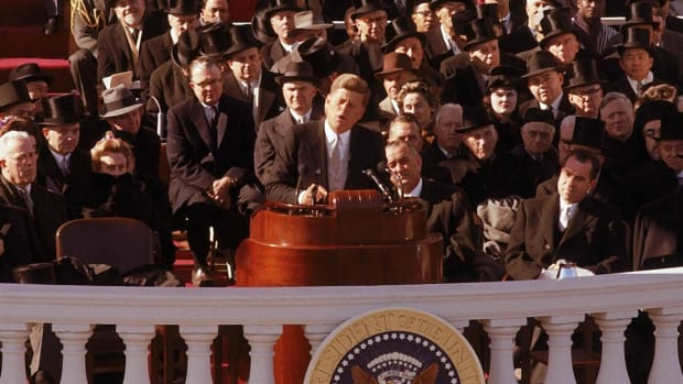John F. Kennedy was inaugurated as the 35th president of the United States on the steps of the Capitol in Washington, D.C. in 1961.