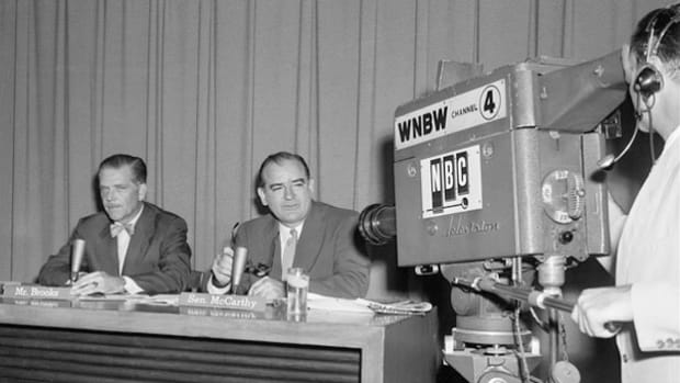 "In a 1953 episode of NBC's ""Meet the Press,"" Sen. Joseph R. McCarthy is questioned by a panel of reporters on his role as the new chairman of the Senate Permanent Subcommittee on Investigations."
