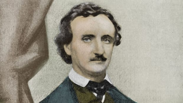 "On this day in 1809, poet, author and literary critic Edgar Allan Poe is born in Boston, Massachusetts. By the time he was three years old, both of Poe's parents had died, leaving him in the care of his godfather, John Allan, a wealthy tobacco merchant. After attending school in England, Poe entered the University of Virginia in 1826. After fighting with Allan over his heavy gambling debts, he was forced to leave UVA after only eight months. Poe then served two years in the U.S. Army and won an appointment to West Point. After another falling-out, Allan cut him off completely and he got himself dismissed from the academy for rules infractions. Dark, handsome and brooding, Poe had published three works of poetry by that time, none of which had received much attention. In 1836, while working as an editor at the Southern Literary Messenger in Richmond, Virginia, Poe married his 13-year-old cousin, Virginia Clemm. He also completed his first full-length work of fiction, Arthur Gordon Pym, published in 1838. Poe lost his job at the Messenger due to his heavy drinking, and the couple moved to Philadelphia, where Poe worked as an editor at Burton's Gentleman's Magazine and Graham's Magazine. He became known for his direct and incisive criticism, as well as for dark horror stories like ""The Fall of the House of Usher"" and ""The Tell-Tale Heart."" Also around this time, Poe began writing mystery stories, works that would earn him a reputation as the father of the modern detective story. In 1844, the Poes moved to New York City. He scored a spectacular success the following year with his poem ""The Raven."" His wife's death drove Poe even deeper into alcoholism and drug abuse. After becoming involved with several women, Poe returned to Richmond in 1849 and got engaged to an old flame. Before the wedding, however, Poe died suddenly. Though circumstances are somewhat unclear. Taken to the hospital, he died on October 7, 1849, at age 40."