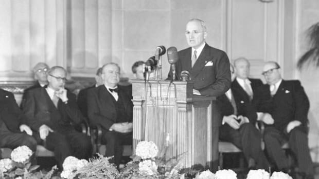 On April 4, 1949, the North Atlantic Treaty was signed by 12 Western democracies, creating the North Atlantic Treaty Organization (NATO). President Harry Truman speaks at the signing ceremony on the significance of the new military alliance   the first ever made during peacetime.