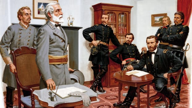 "At Appomattox, Virginia, Confederate General Robert E. Lee surrenders his 28,000 troops to Union General Ulysses S. Grant, effectively ending the American Civil War. Forced to abandon the Confederate capital of Richmond, blocked from joining the surviving Confederate force in North Carolina, and harassed constantly by Union cavalry, Lee had no other option. In retreating from the Union army's Appomattox Campaign, the Army of Northern Virginia had stumbled through the Virginia countryside stripped of food and supplies. At one point, Union cavalry forces under General Philip Sheridan had actually outrun Lee's army, blocking their retreat and taking 6,000 prisoners at Sayler's Creek. Desertions were mounting daily, and by April 8 the Confederates were surrounded with no possibility of escape. On April 9, Lee sent a message to Grant announcing his willingness to surrender. The two generals met in the parlor of the Wilmer McLean home at one o'clock in the afternoon. Lee and Grant, both holding the highest rank in their respective armies, had known each other slightly during the Mexican War and exchanged awkward personal inquiries. Characteristically, Grant arrived in his muddy field uniform while Lee had turned out in full dress attire, complete with sash and sword. Lee asked for the terms, and Grant hurriedly wrote them out. All officers and men were to be pardoned, and they would be sent home with their private property--most important, the horses, which could be used for a late spring planting. Officers would keep their side arms, and Lee's starving men would be given Union rations. Shushing a band that had begun to play in celebration, General Grant told his officers, ""The war is over. The Rebels are our countrymen again."" Although scattered resistance continued for several weeks, for all practical purposes the Civil War had come to an end."