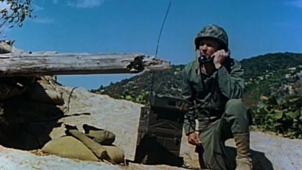 In this video clip of History's Mail Call, host R. Lee Ermey, along with Andy Miller of the Military Radio Collectors Club, takes a look at what kind of radios they used in World War II including the handie-talkie, walkie-talkie and TBX8 radio set.