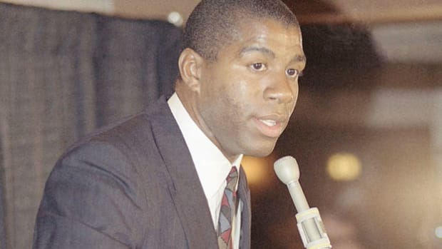 "On November 8, 1991, Earvin ""Magic"" Johnson announced in a press conference that he had tested positive for HIV and would be retiring from basketball immediately. A news report covers the story, including a host of reactions from the shocked public."