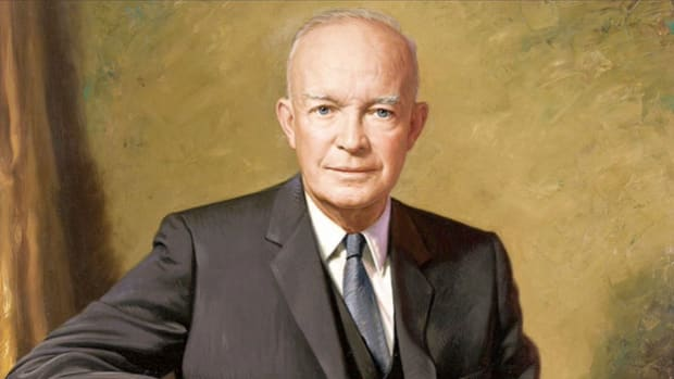 President Dwight D. Eisenhower is forced to take action when nine African-American students are prevented from entering Central High School in Little Rock, Arkansas. In a broadcast to the nation on September 24, 1957, the president explains his decision to order Federal troops to Little Rock to ensure that the students are allowed access to the school, as mandated by the U.S. Supreme Court's decision in Brown v. Board of Education.