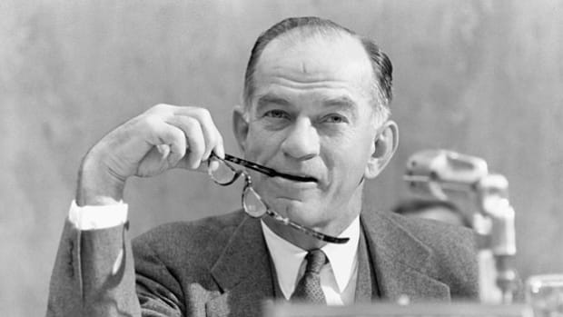 As a U.S. delegate to the Conference of Allied Ministers of Education in 1943, J. William Fulbright, a congressman from Arkansas, speaks about the Nazi destruction of intellectual leaders and educational facilities and the need to help restore the devastated institutions of liberated nations.