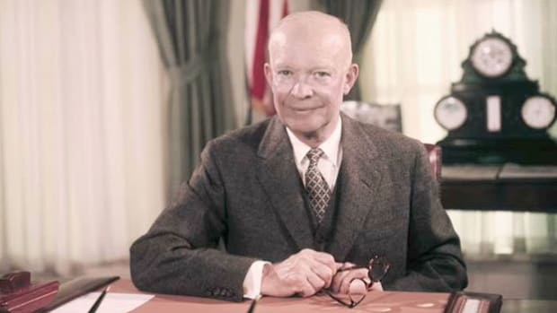 Two years after American medical researcher Jonas Salk reported that he had successfully tested a vaccine against poliomyelitis, polio vaccinations were still not widely available in the United States. To assuage the public's concerns, President Eisenhower holds a press conference on May 4, 1955, and explains the need for further testing.