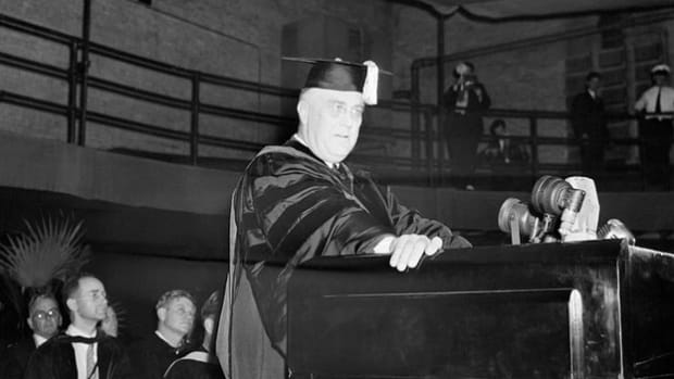 On June 10, 1940, as President Franklin D. Roosevelt prepares to deliver the commencement address at the University of Virginia where his son is graduating with a law degree, Italy declares war on France and Great Britain. Rather than deliver his prepared speech, Roosevelt instead expresses his opposition to Mussolini's move and calls on America to end its isolationism.