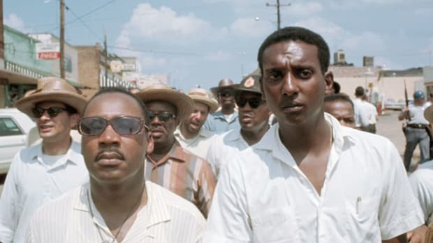 "On April 5, 1968, in a press conference held the day after the slaying of Martin Luther King Jr., civil rights activist Stokely Carmichael predicts the outbreak of more violence across the nation in retaliation for ""white America's biggest mistake."""
