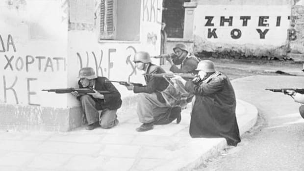 In December 1944, bloody fighting broke out in Athens between occupying British forces and the National Popular Liberation Army (ELAS), a Greek communist resistance group. An NBC News correspondent in Athens recounts events he witnessed throughout the hostilities, which signaled the start of the Greek Civil War.