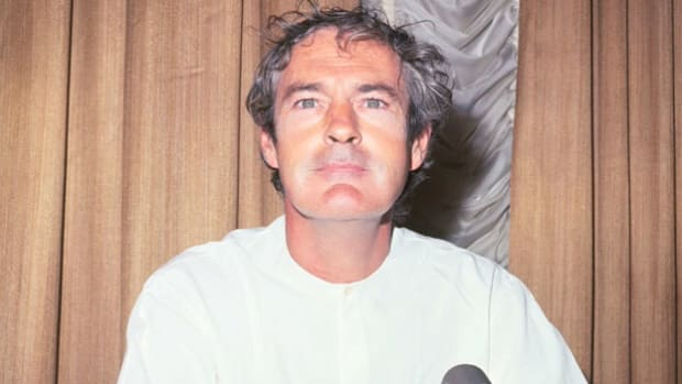 "Timothy Leary's advocacy of mind-altering drugs made him, in Richard Nixon's words, ""the most dangerous man in America."" At a press conference in San Francisco in 1966, Leary advises his audience to ""turn on, tune in, drop out."""
