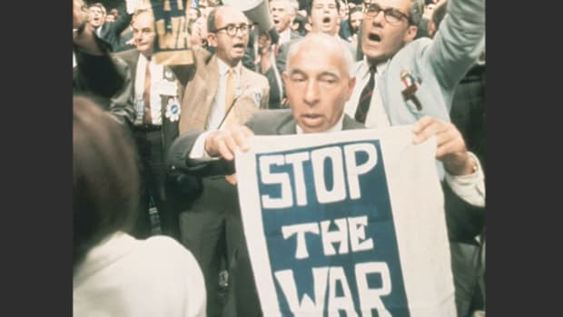 When bloody riots broke out between anti-Vietnam War protestors and Chicago police outside the 1968 Democratic National Convention, Sen. Abraham Ribicoff ditched his prepared support speech for George McGovern and instead criticized Mayor Richard Daly's handling of the situation.