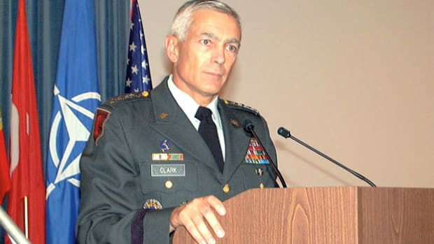 In a December 9, 1999, press conference, Gen. Wesley Clark, supreme Allied commander of NATO, highlights growing tensions in Montenegro four years after the Dayton Accords and the deployment of NATO forces in the Balkans.