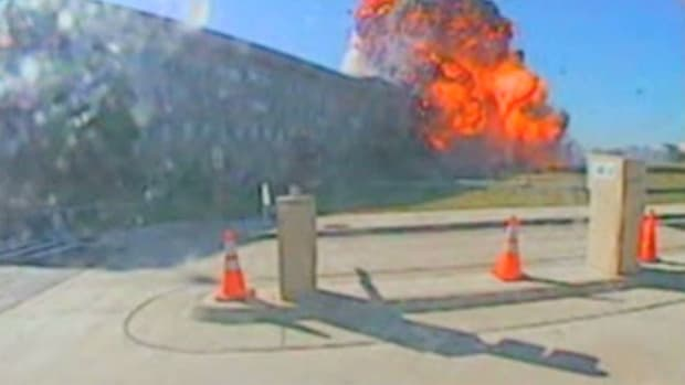 At 9:38 a.m. on September 11, 2001, a military cargo plane radios controllers at Reagan National Airport to report that American Airlines Flight 77 has crashed into the Pentagon.