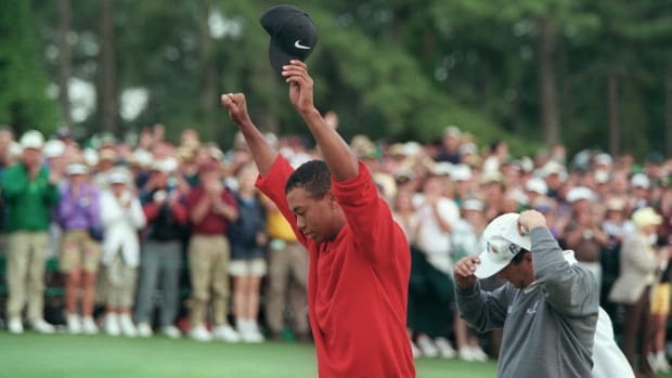 Tiger Woods became the first African American to win a major, and the youngest to wear the green jacket when he aced his first Masters Golf Tournament on April 13th. This video clip with Russ Mitchell recaps the historical events of April 13. From This Day In History, this clip also includes the beginning of Hank Aaron's major league baseball career, and the first African American, Sidney Poitier, to win an Oscar for Best Actor. Pope John Paul II also made his historic visit to a Jewish Synagogue on April 13, becoming the first Pope to visit a Jewish house of worship.