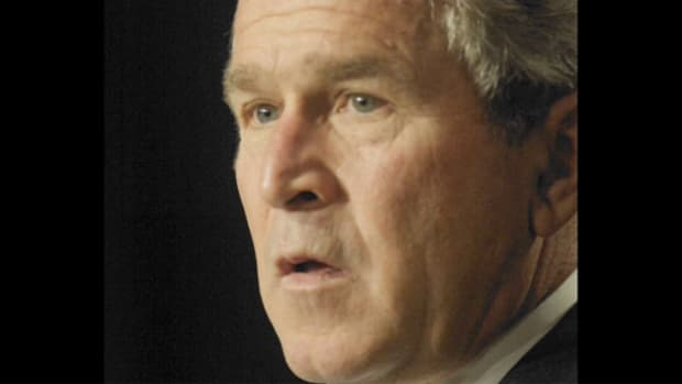 """On March 19, 2003, President George W. Bush informs the nation that he has ordered U.S. troops into Iraq, promising a """"broad and concerted campaign"""" against Saddam Hussein's regime."""