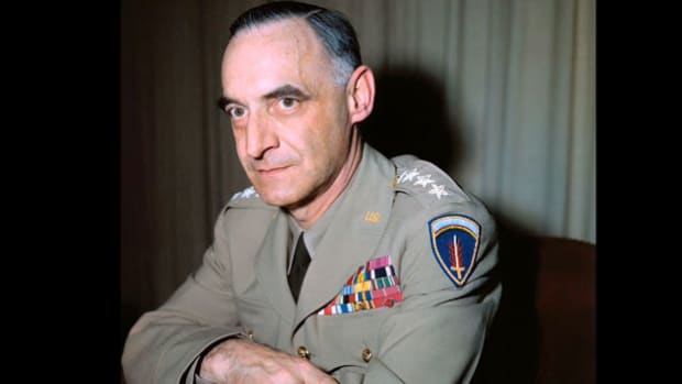 Upon his return from commanding U.S. occupation forces in Germany, Gen. Lucius Clay holds a press conference on May 17, 1949, and fields questions about the growing tension between the United States and the Soviets over the division of Germany.