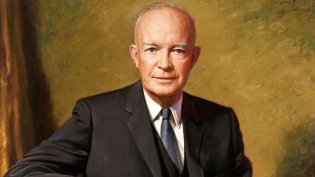 On February 20, 1957, U.S. President Dwight D. Eisenhower appeared before his nation to discuss the on-going crisis in the Middle East and to win popular support for the Eisenhower Doctrine, a congressional bill that would authorize the deployment of U.S. military forces to any Middle East nation seeking aid against Communist aggression.  Four months earlier, the latest crisis in the troubled region began when Israeli, British, and French forces invaded Egypt and occupied the Suez Canal Zone in retaliation for Egyptian leader Gamal Abdel Nasser's nationalization of the waterway.  The United Nations, the U.S., and the U.S.S.R. all expressed outrage at the hostilities, and Britain, France, and Israel agreed to withdraw from the Suez as a U.N. emergency force was sent to the area.  Although the superpowers presented a facade of unity during the Suez Canal Crisis, both were primarily motivated by their ambition to gain influence with Arab states in the Middle East.