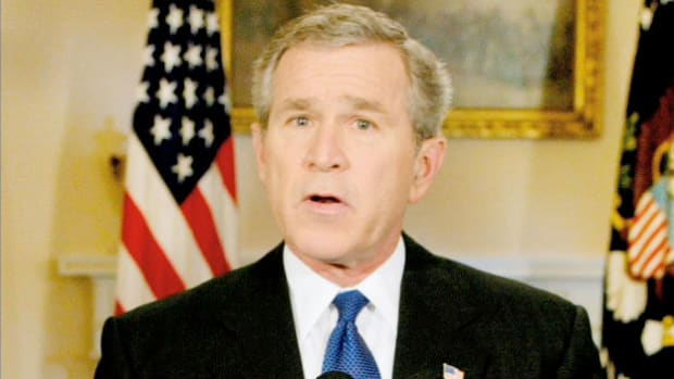 Almost a year after sending U.S. troops to fight in Iraq, President George W. Bush announces the capture of the country's dictator, Saddam Hussein, in an address to the nation on December 14, 2003.