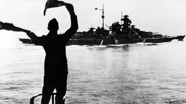 In This Day in History video clip: On May 27, 1941, the British navy sinks the German battleship Bismarck in the North Atlantic near France. The German death toll was more than 2,000. On February 14, 1939, the 823-foot Bismarck was launched at Hamburg.