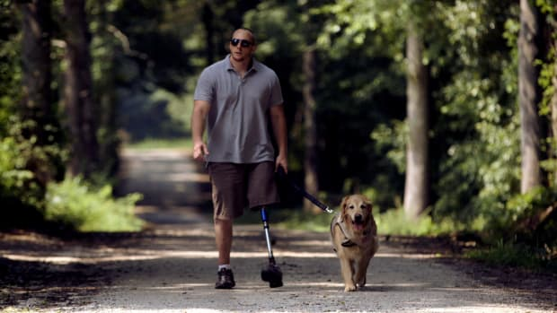 Benjamin, a golden retriever from America's Vet Dogs, shares his story of how he came to be the service dog and, most importantly, best friend to Navy hospital corpsman Joe Worley.