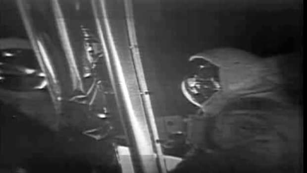 See existing footage alongside newly restored video of Neil Armstrong reading the commemorative plaque affixed to the lunar module. From NASA.