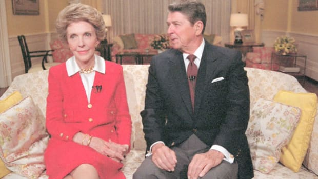 "In a nationally broadcast message to the American people on September 14, 1986, first lady Nancy Reagan joins President Ronald Reagan to kick off her ""Just Say No"" campaign, an effort to raise drug abuse awareness."