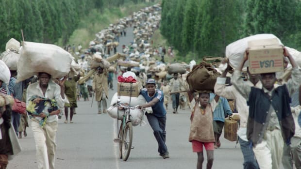 "On this day in 1994, Rwandan armed forces kill 10 Belgian peacekeeping officers in a successful effort to discourage international intervention in the genocide that had begun only hours earlier. In approximately three months, the Hutu extremists who controlled Rwanda brutally murdered an estimated 500,000 to 1 million innocent civilian Tutsis and moderate Hutus in the worst episode of ethnic genocide since World War II. The immediate roots of the 1994 genocide dated back to the early 1990s, when President Juvenal Habyarimana, a Hutu, began using anti-Tutsi rhetoric to consolidate his power among the Hutus. Beginning in October 1990, there were several massacres of hundreds of Tutsis. Although the two ethnic groups were very similar, sharing the same language and culture for centuries, the law required registration based on ethnicity. The government and army began to assemble the Interahamwe (meaning ""those who attack together"") and prepared for the elimination of the Tutsis by arming Hutus with guns and machetes. In January 1994, the United Nations forces in Rwanda warned that larger massacres were imminent."