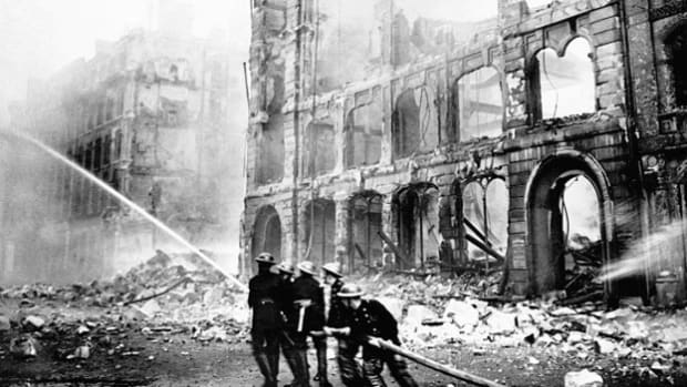 Associated Press war correspondent Bill McGaffin provides a firsthand account of the Battle of France and the London Blitz in a radio interview on February 12, 1944.