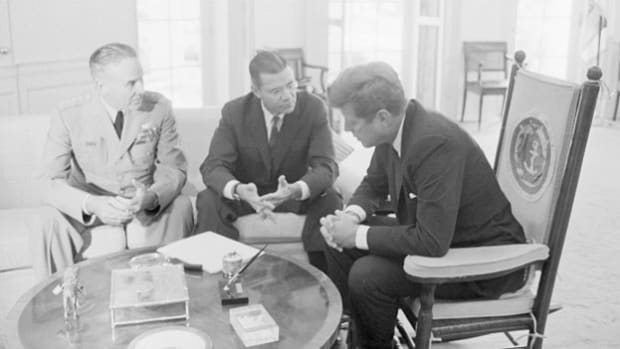 "In a recorded meeting at the White House on May 7, 1963, Secretary of Defense Robert McNamara briefs President John F. Kennedy on the uprising in Vietnam, laying out a timetable for the withdrawal of American troops and warning that he doesn't want to see Vietnam turn into ""another Korea""."