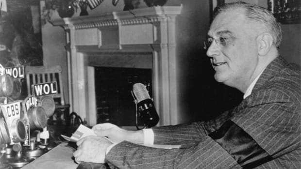 In his fireside chat radio broadcast on April 28, 1942, President Franklin D. Roosevelt presents his seven-point economic stabilization plan to deal with the country's unprecedented wartime spending.