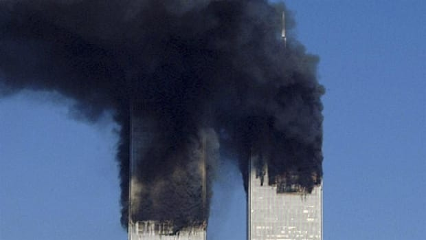 Moments after One World Trade Center is attacked.  Courtesy of WCBS Newsradio 880.