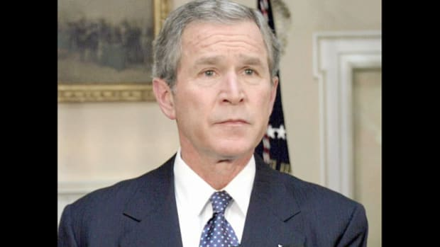 On February 1, 2003, the space shuttle Columbia was 16 minutes away from touchdown after completing its 28th mission when a damaged heat protection tile caused the shuttle to incinerate, killing all seven crew members. Later that day, President George W. Bush informs the nation about the terrible disaster.
