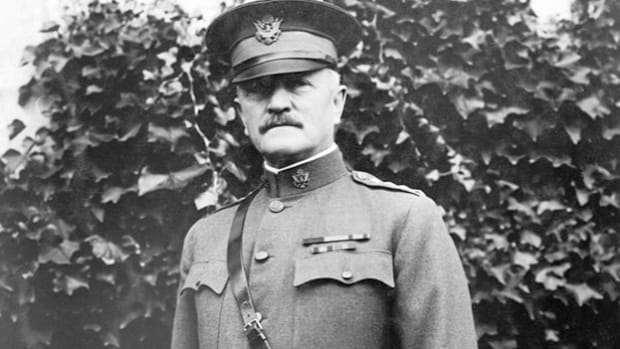 "In a speech recorded from the battlefield in France on April 4, 1918, Gen. John J. ""Black Jack"" Pershing, commander of the American Expeditionary Forces during World War I, rallies American support with a patriotic message."