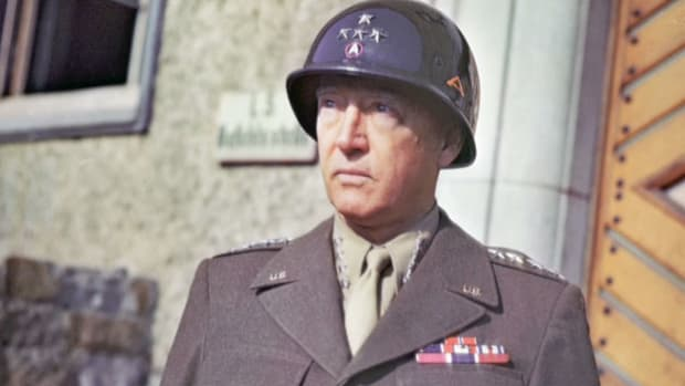 On June 9, 1945, Los Angeles honored Gen. George S. Patton with a homecoming parade upon his return from Europe after Germany's surrender. In an address at the City Hall ceremonies, Gen. Patton, in his trademark colorful language, describes the destruction wrought by the Eighth Air Force and Third Army.