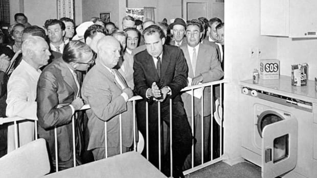In July 1959, Vice President Richard Nixon traveled to Moscow to open the U.S. Trade and Cultural Fair in Sokolniki Park. In the kitchen of the exhibit's model house built by General Electric, Nixon and Soviet Premier Nikita Khrushchev began an impromptu series of debates on the merits of capitalism and communism. An audio segment of one of the exchanges, which was filmed by the American company Ampex on the first videotape recorder, illustrates the Cold War tensions simmering beneath the surface.