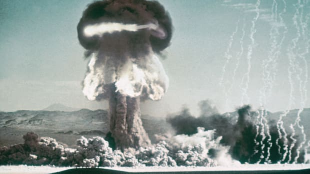 In a This Day in History video, learn that on July 16, 1945, the United States conducted the first atomic bomb test in the New Mexican desert. The test was the culmination of three years of secret planning under the codename, The Manhattan Project. Scientists, soldiers, and officers assembled the observation huts, some as far as 10 miles away from ground zero. There was an intense flash of light, and then the a-bomb produced a fireball that expanded nearly 2,000 feet in two seconds; it boiled up into a mushroom cloud nearly six miles high.