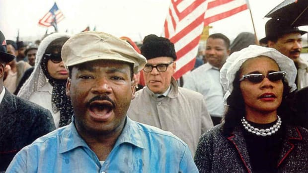 Newsreel footage of the freedom march from Selma to Montgomery, Alabama, led by Martin Luther King, Jr.