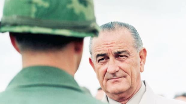 In a broadcast from the White House on January 31, 1966, President Lyndon B. Johnson informs the nation that U.S. airstrikes on Vietnam have resumed after a 37-day pause in bombing.