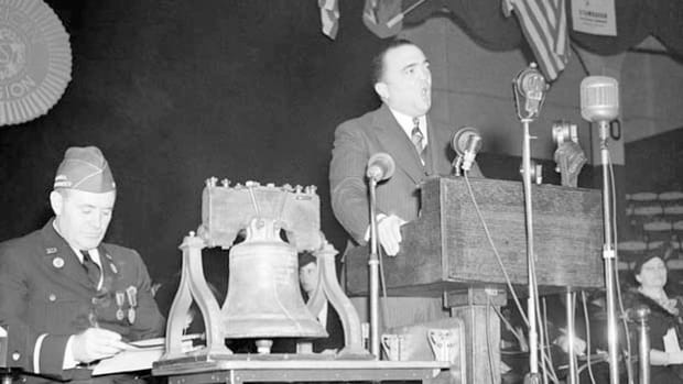 In a September 1940 address to the American Legion, J. Edgar Hoover, the director of the FBI, warns of the growing threat of subversive forces in the United States.