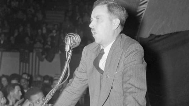 Earl Browder, who was the Communist party's candidate in 1936 and 1940, reaches out to progressives in a speech on the campaign trail. While appealing a passport forgery conviction in 1940, he was forbidden to travel and thus ran his campaign exclusively out of New York.